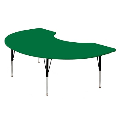 Correll® 48D x 72L Kidney Shaped Heavy Duty Plastic Activity Table; Green Top
