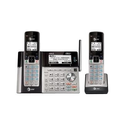 AT&T TL96273 Connect to Cell™ DECT 6.0 Expandable Bluetooth Cordless Answering System With Caller ID/Call Waiting, Silver/Black