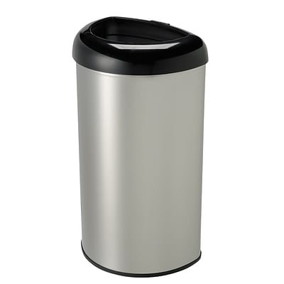 Nine Stars Stainless Steel Open Top Trash Can, 13.2 Gallon, Black (OTT-50-19BK)