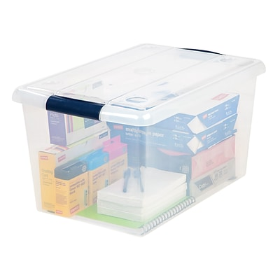 Quill Brand® 61-Quart Store-n-Slide Plastic Latching Tote (170282)