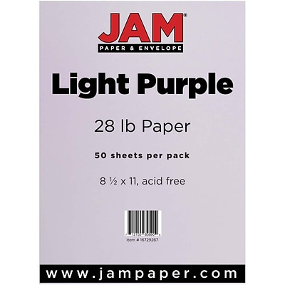 JAM Paper® Matte Paper - 8.5 x 11 - 28 lb. Light Purple - 50/pack