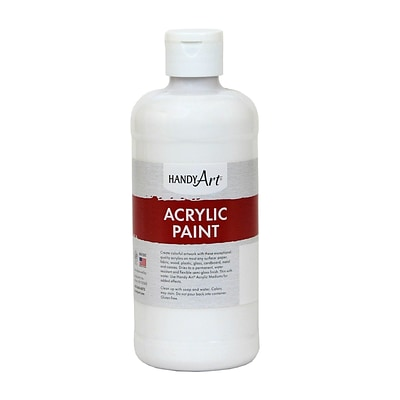 Handy Art® Student Acrylic Paint, White, Certified AP Non-Toxic & Gluten-Free, 16oz (RCP101005)