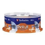Verbatim ® DVD Recordable Media with White Inkjet Printable Surface, 4.7GB, DVD-R, 16x, 25/Pack (961