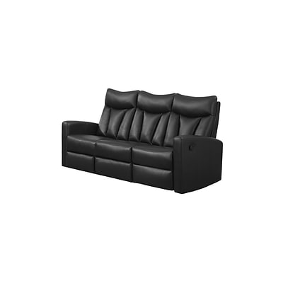 Monarch Specialties 72L Black Reclining 3 Piece Sofa ( I 87BK-3 )