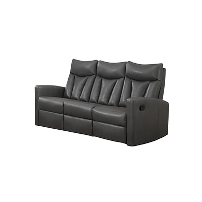 Monarch Specialties 72L Charcoal Grey Reclining 3 Piece Sofa ( I 87GY-3 )
