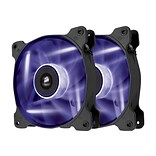 Corsair Air Series AF120 Sleeved Bearing Purple LED Quiet Edition Cooling Fan; Black, 2/Pack (CO-905