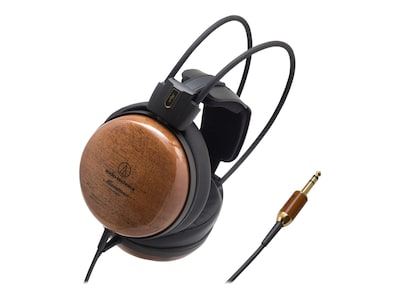 Audio Technica ATH W1000Z Audiophile Over the Head Stereo Dynamic Wooden Headphone; Brown
