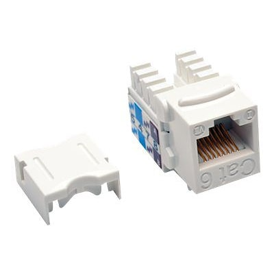 Tripp Lite Cat6/Cat5e 110 Style Punch Down Keystone Jack; White, 25/Pack (N238-025-WH)