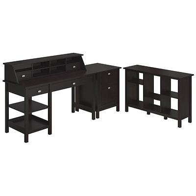 Bush® Furniture Broadview Collection Open Storage Desk, Organizer, 2 Drawer Pedestal & 6 Cube Bookcs