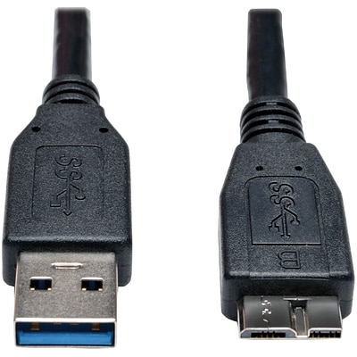 Tripp Lite 1 Type-A USB/Type-B Micro USB Male/Male SuperSpeed Data Transfer Cable; Black (U326-001-BK)