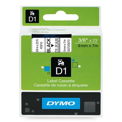 DYMO® Label Maker D1 Label Cartridge, Label Tape, 3/8 x 23, Black on Clear