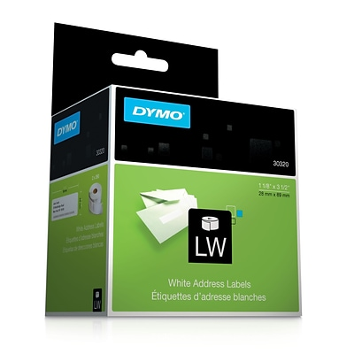 Dymo® White Address Labels, F/models: EL40, 60, Turbo & Seiko Printers, 1-1/8H x 3-1/2W, 260/Roll, 2Rolls/Box