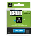 Dymo D1 1/2 Label Tape Black on Clear