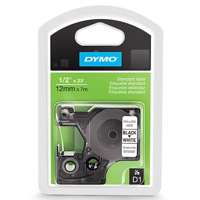 DYMO 45013 1/2 High-Performance Permanent Self-Adhesive Polyester Label Tape White