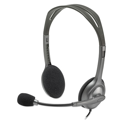 Logitech® H111 Binaural Over-The-Head, Stereo Headset, Black/silver
