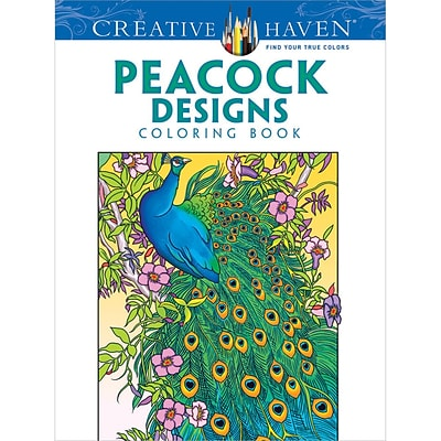 Creative Haven Peacock Designs Adult Coloring Book, Paperback