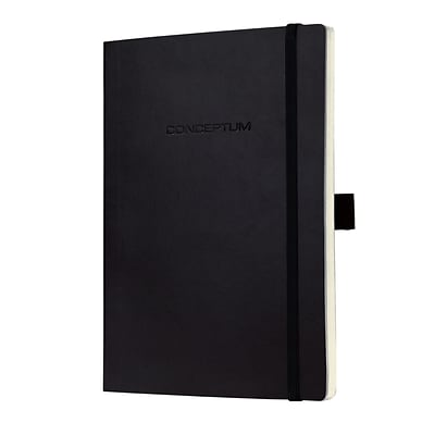 Sigel Softcover Lined Notebook - A5 Journal Size with Elastic Closure, Black (SGA5SEL-BK)