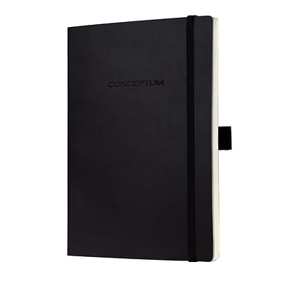 Sigel Softcover Graph Notebook - A5 Journal Size with Elastic Closure, Black (SGA5SES-BK)