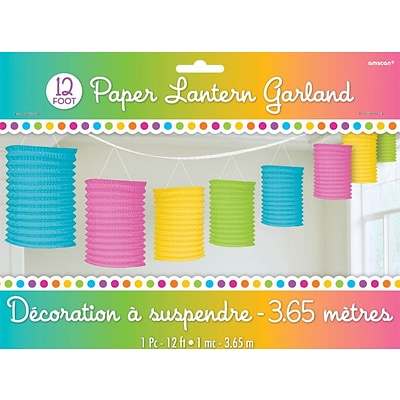 Amscan Paper Lantern Garland; 12, Multicolored, 3/Pack (22055.90)