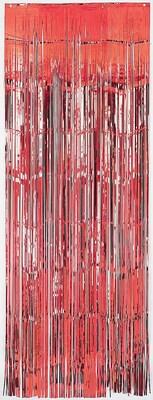 Amscan Metallic Curtains; 8' x 3', Red