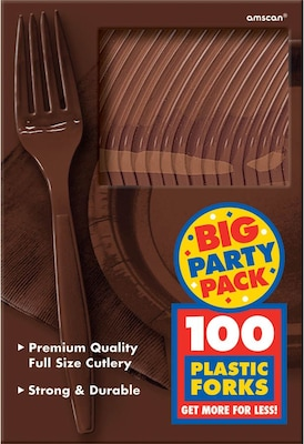 Amscan Mid Weight Fork; Brown 3pk