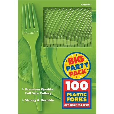 Amscan Big Party Pack Mid Weight Fork, Kiwi, 3/Pack, 100 Per Pack (43600.53)