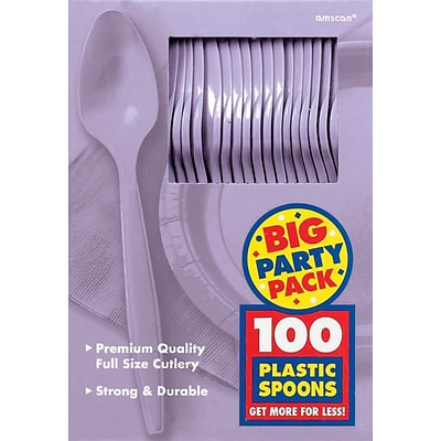Amscan Big Party Pack Mid Weight Spoon, Lavender, 3/Pack, 100 Per Pack (43601.04)
