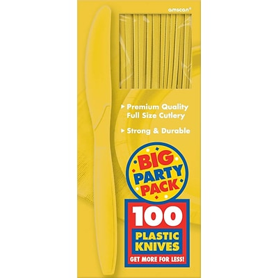 Amscan Big Party Pack Mid-Weight Knife, Sunshine Yellow, 3/Pack, 100 Per Pack (43603.09)
