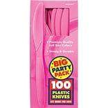 Amscan Big Party Pack Mid-Weight Knife, Bright Pink, 3/Pack, 100 Per Pack (43603.103)
