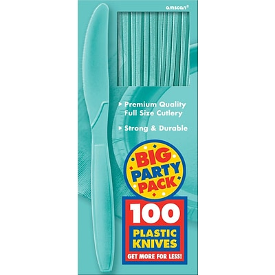 Amscan Big Party Pack Mid Weight Knife, Robins Egg Blue, 3/Pack, 100 Per Pack (43603.121)