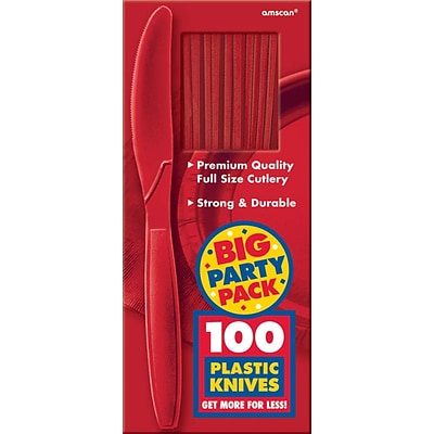 Amscan Big Party Pack Mid Weight Knife, Red, 3/Pack, 100 Per Pack (43603.40)