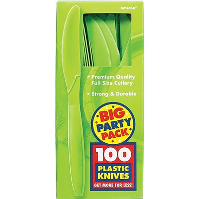 Amscan Big Party Pack Mid Weight Knife, Kiwi, 3/Pack, 100 Per Pack (43603.53)