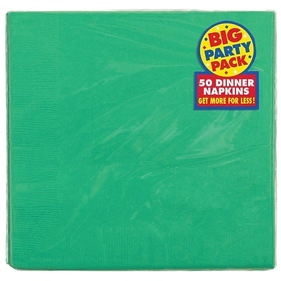 Amscan Big Party Pack Dinner Napkin, 2-Ply, Festive Green, 6/Pack, 50 Per Pack (62215.03)