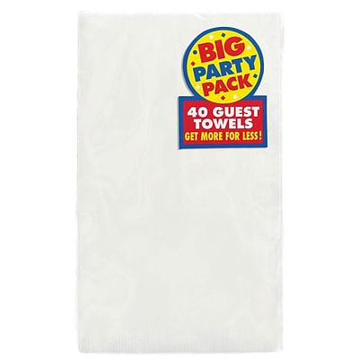 Amscan Big Party Pack Guest Towel, 2-Ply, Frosty White, 6/Pack, 40 Per Pack (63215.08)