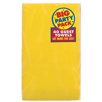 Amscan Big Party Pack Guest Towel, 2-Ply, Yellow Sunshine, 6/Pack, 40 Per Pack (63215.09)