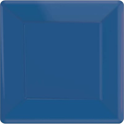 Amscan 7L x 7W Royal Blue Square Plate, 9/Pack, 20 Per Pack (64020.105)