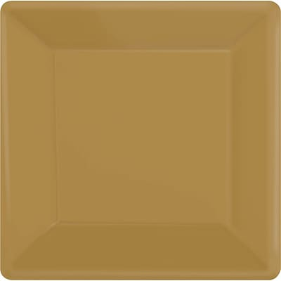 Amscan 7x 7 Gold Square Plate, 9/Pack, 20 Per Pack (64020.19)