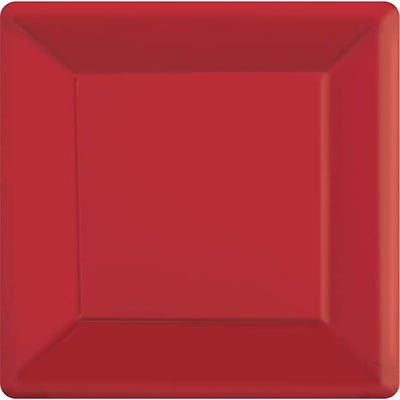 Amscan 7 x 7 Apple Red Square Plate, 9/Pack, 20 Per Pack (64020.4)