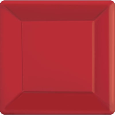 Amscan 10 x 10 Apple Red Square Plate, 4/Pack, 20 Per Pack (69920.4)