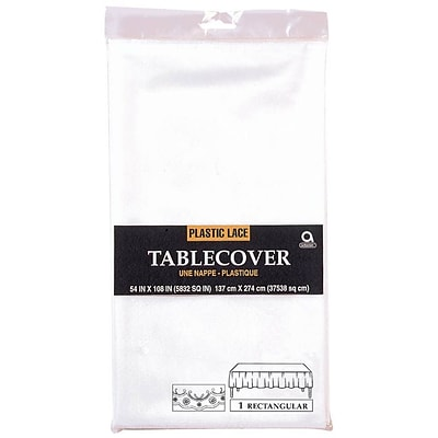 Amscan 54 x 108 White Lace Plastic Tablecover, 5/Pack (77000)