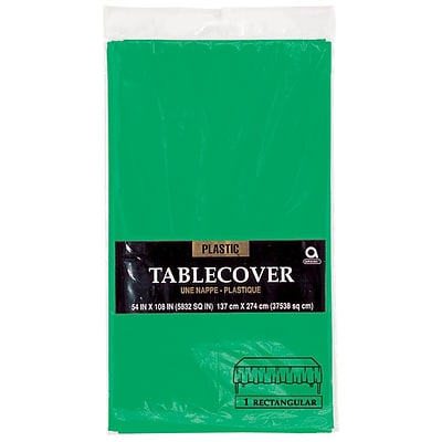 Amscan 54 x 108, Green Plastic Tablecover, 12/Pack (77015.03)