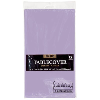 Amscan Plastic Tablecover, 54 x 108, Lavender, 12/Pack (77015.04)