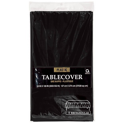 Amscan Plastic Tablecover, 54W x 108L, Black, 12/Pack (77015.1)
