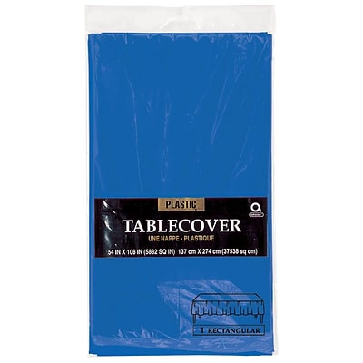 Amscan 54 x 108 Royal Blue Plastic Tablecover, 12/Pack (77015.105)