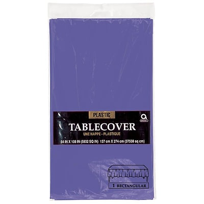 Amscan Plastic Tablecover, 54 x 108, Purple, 12/Pack (77015.106)