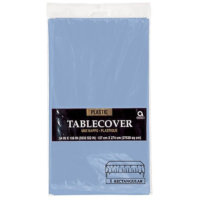 Amscan 54 x 108 Pastel Blue Plastic Tablecover, 12/Pack (77015.108)