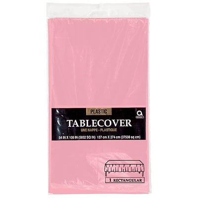 Amscan 54 x 108 Pink Plastic Tablecover, 12/Pack (77015.109)