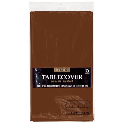 Amscan 54 x 108 Brown Plastic Table cover, 12/Pack (77015.111)