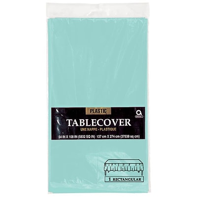 Amscan 54 x 108 Robins Egg Blue Plastic Tablecover, 12/Pack (77015.121)