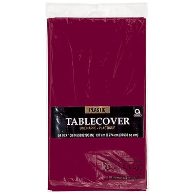 Amscan Plastic Tablecover, 54L x 108W, Berry, 12/Pack (77015.27)